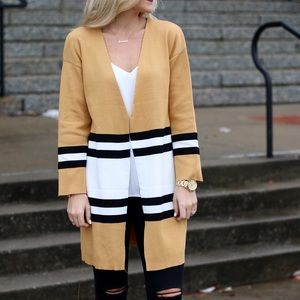 Sweaters - Striped Cardigan